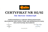 Certyfikat Akubater akumulatory Zielona Góra